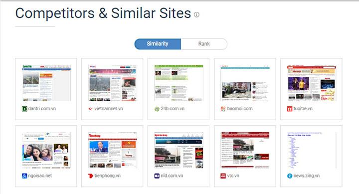 thống kê các website tương tự thông qua similar web