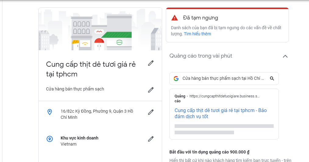 Google business bị tạm ngưng